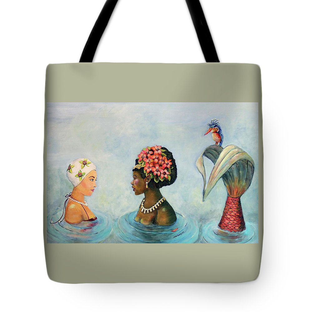 Mermaid Tote Bag featuring the painting Conversation With a Mermaid by Linda Queally