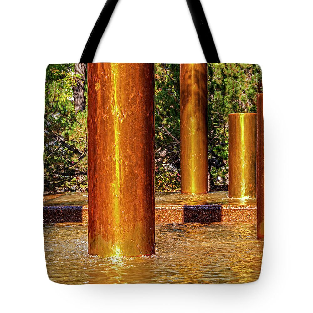 Peavey Plaza Tote Bag featuring the photograph Copper Columns at Peavey Plaza by Lonnie Paulson