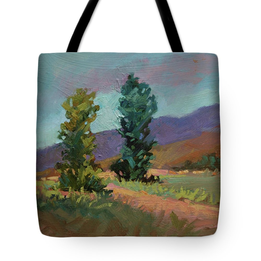 Cottonwood Paintings Tote Bag featuring the painting Cottonwoods by Betty Jean Billups