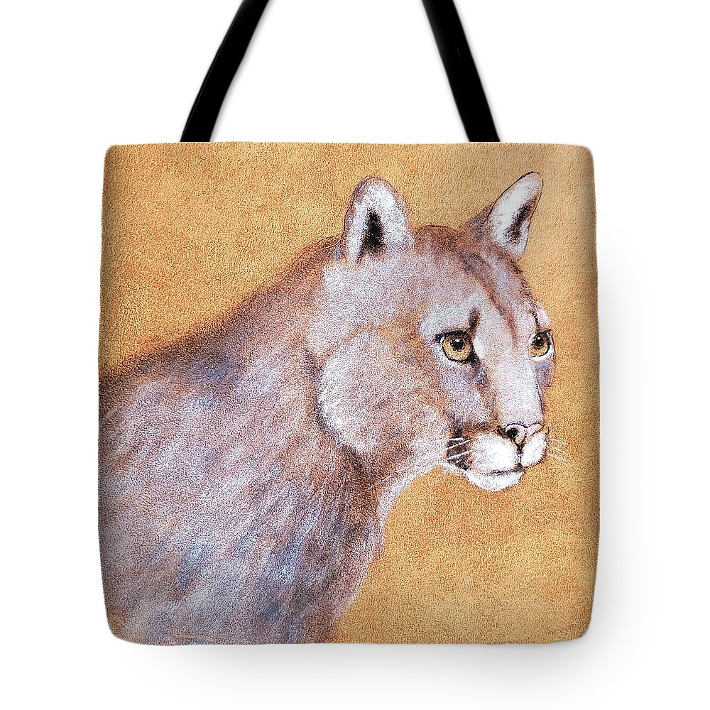 Leather Tote Bag featuring the painting Cougar On Elkhide by Suzy Combs