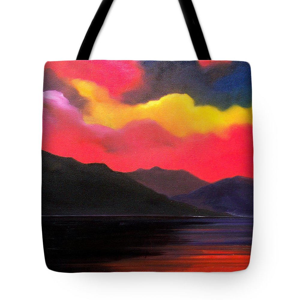 Surreal Tote Bag featuring the painting Crimson clouds by Sergey Bezhinets