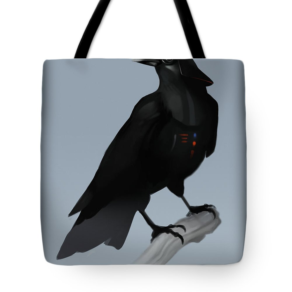 Birds Tote Bag featuring the digital art Crow Vader by Michael Myers