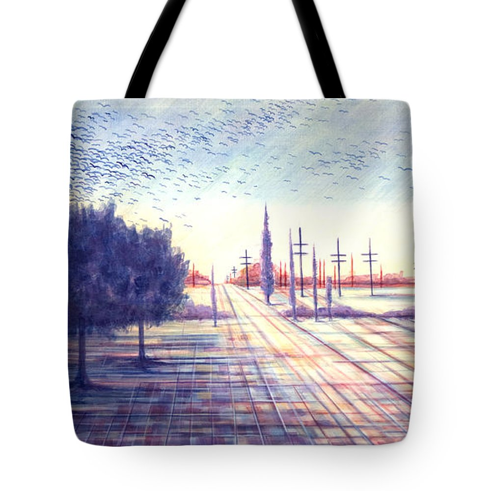 Crows Tote Bag featuring the painting Crows by Judy Henninger