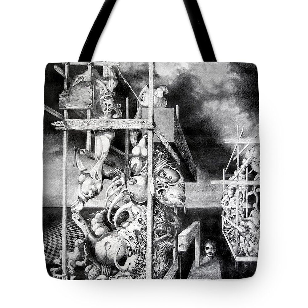 Surrealism Tote Bag featuring the drawing Cthulhu Monuments by Otto Rapp