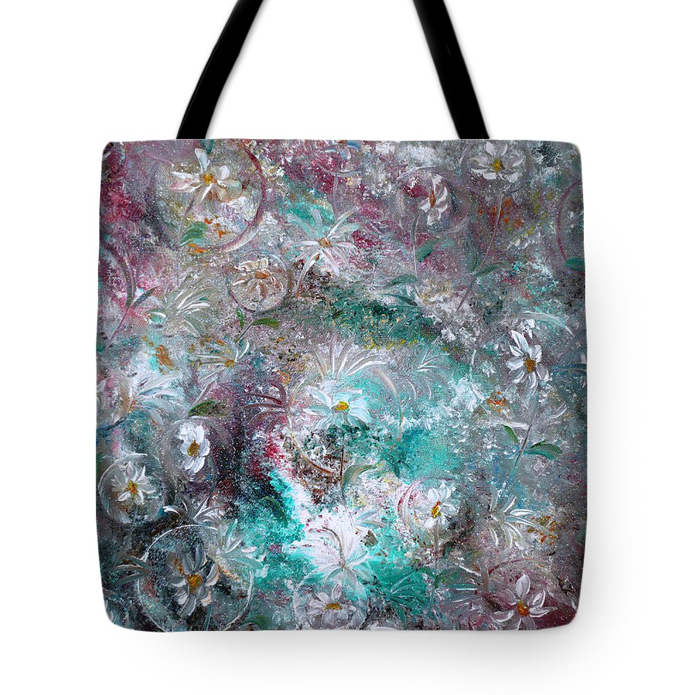 Original Flower Abstract Painting Tote Bag featuring the painting Daisy Dreamz by Karin Dawn Kelshall- Best