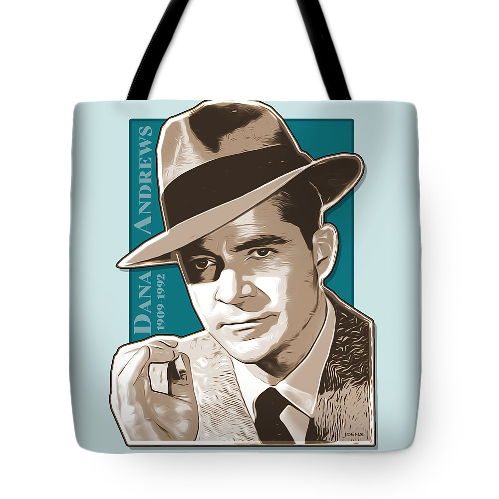 Dana Andrews Tote Bag featuring the digital art Dana Andrews Pop Art by Greg Joens