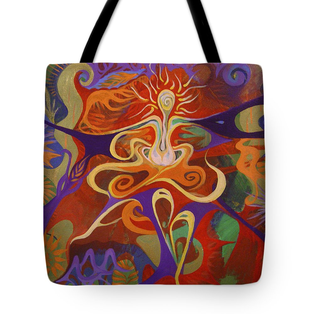 Woman Sitting In Flowy Colors - Meditative And Imaginative Tote Bag featuring the painting Dance Of Color by Michelle Oravitz