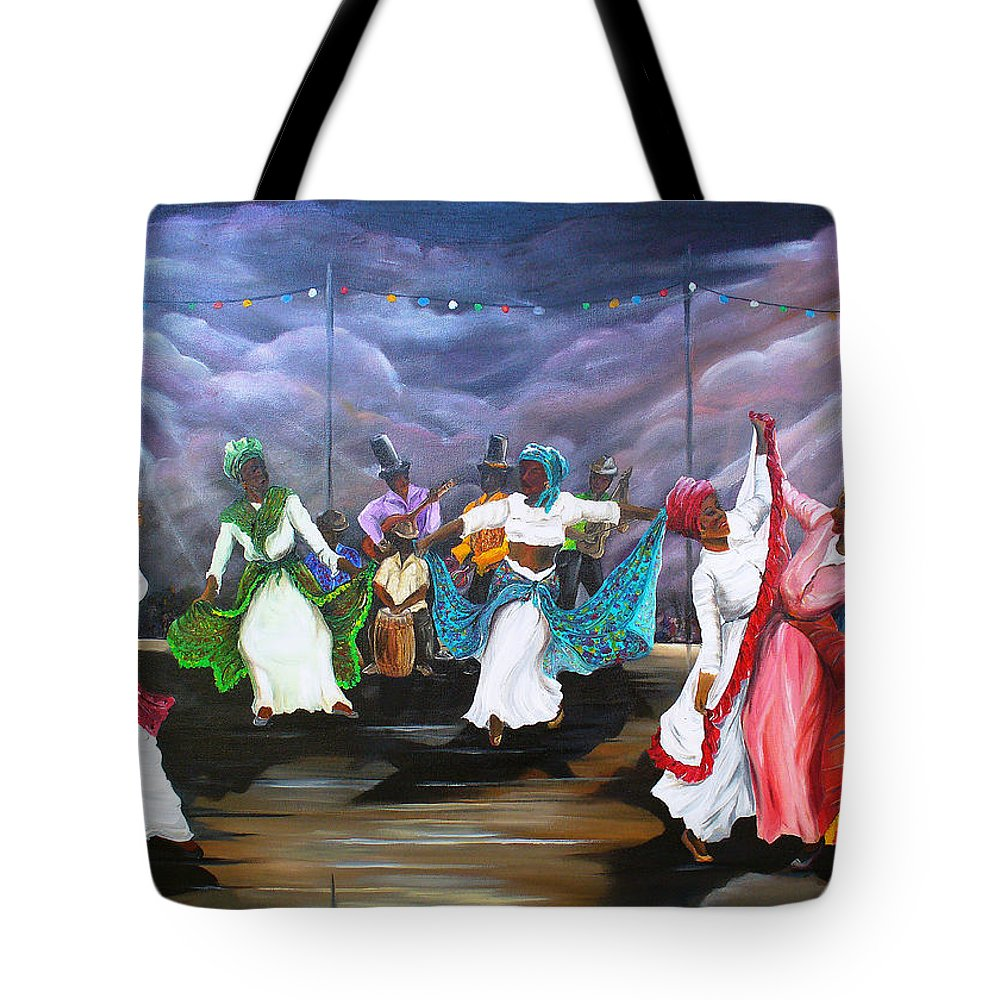 Caribbean Painting Original Painting Folklore Dance Painting Trinidad And Tobago Painting Dance Painting Tropical Painting Tote Bag featuring the painting Dance The Pique by Karin Dawn Kelshall- Best