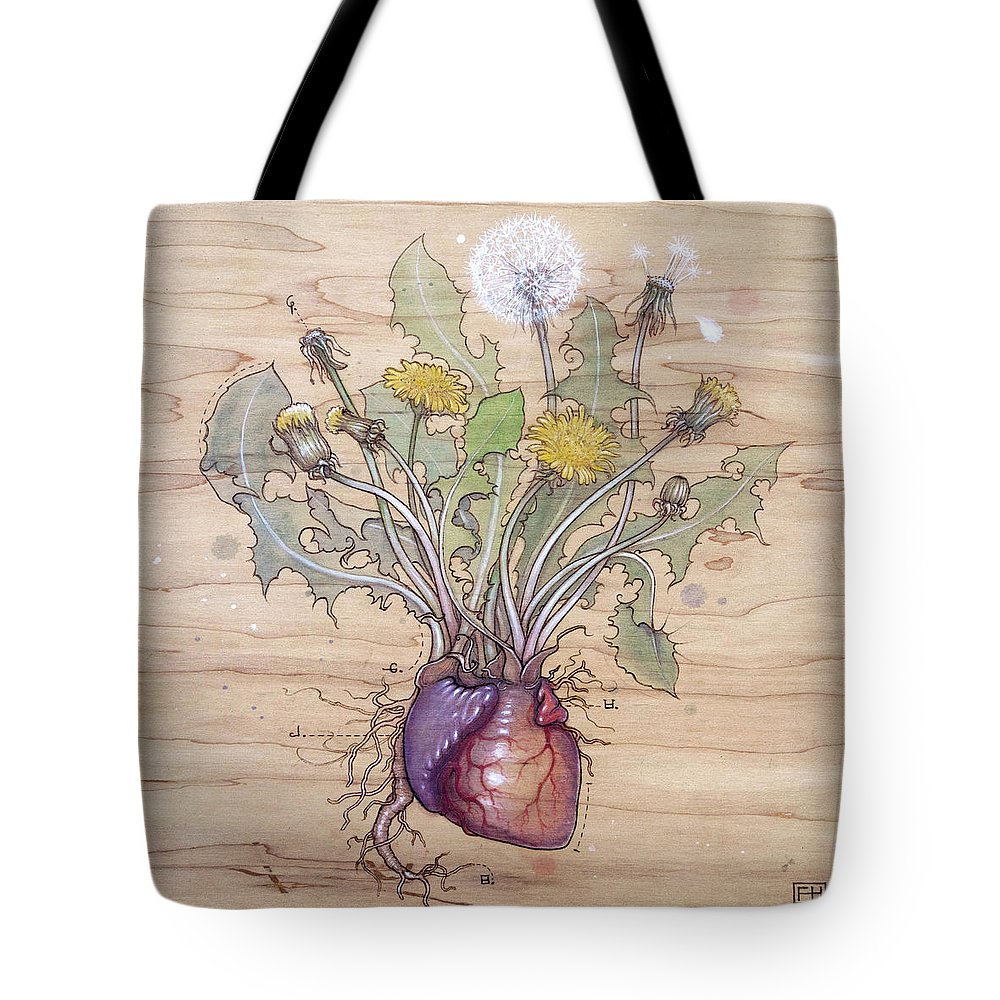 Dandelion Tote Bag featuring the pyrography Dandelion Heart by Fay Helfer