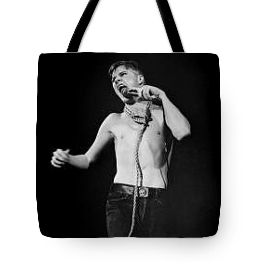 Darby Crash  The Germs  Punk Rock Whiskey Au Go Go Tote Bag featuring the photograph Darby Crash At The Whiskey-copyright By Dawn Wirth by Dawn Wirth