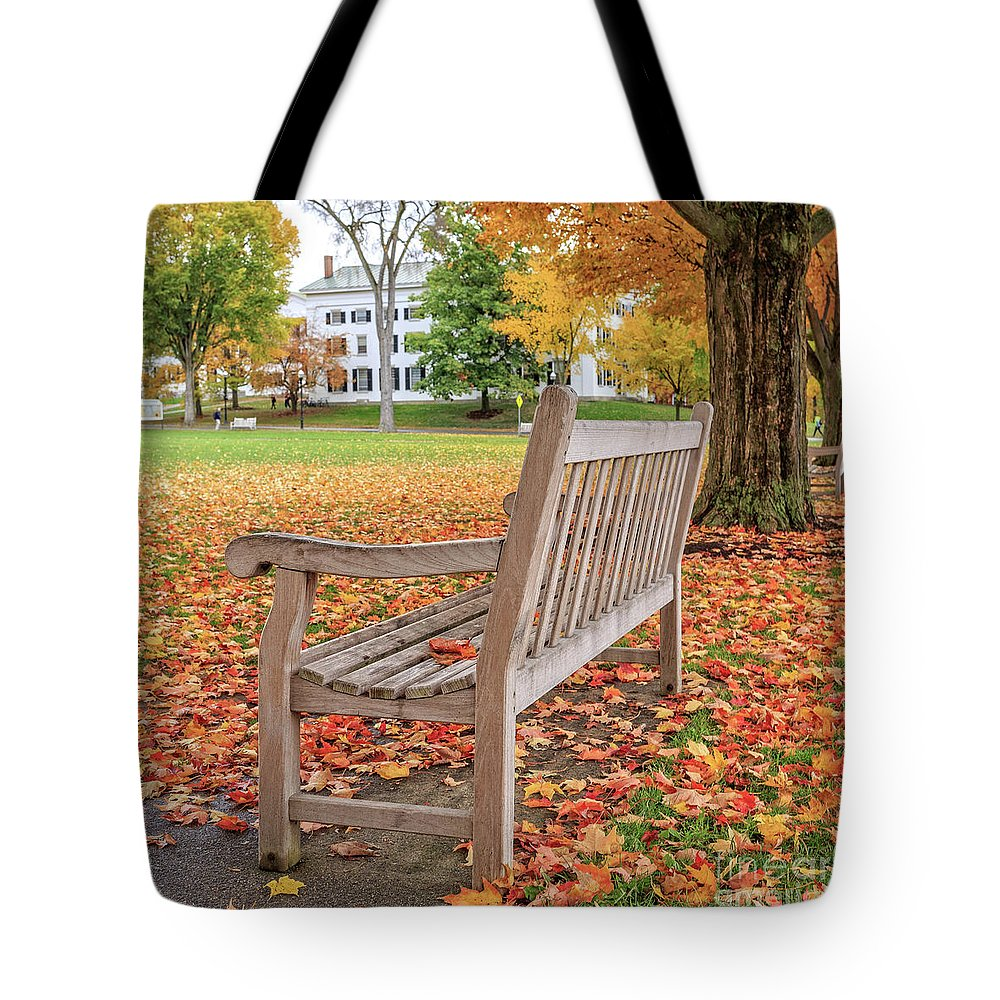 Dartmouth Tote Bag featuring the photograph Dartmouth Hanover Green In Autumn Square by Edward Fielding