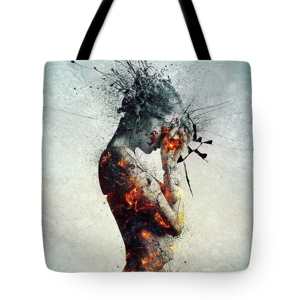 Deliberation Tote Bag featuring the digital art Deliberation by Mario Sanchez Nevado