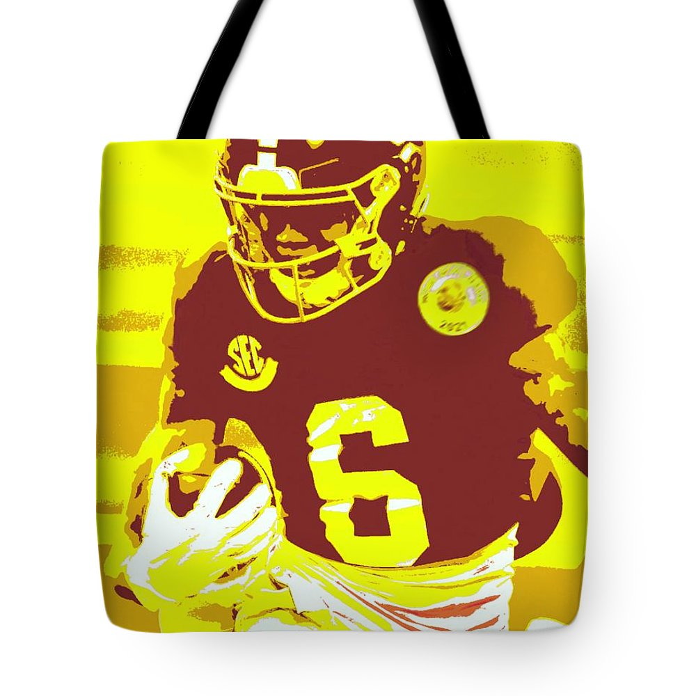 Devonta Smith Tote Bag featuring the painting DeVonta Smith by Jack Bunds