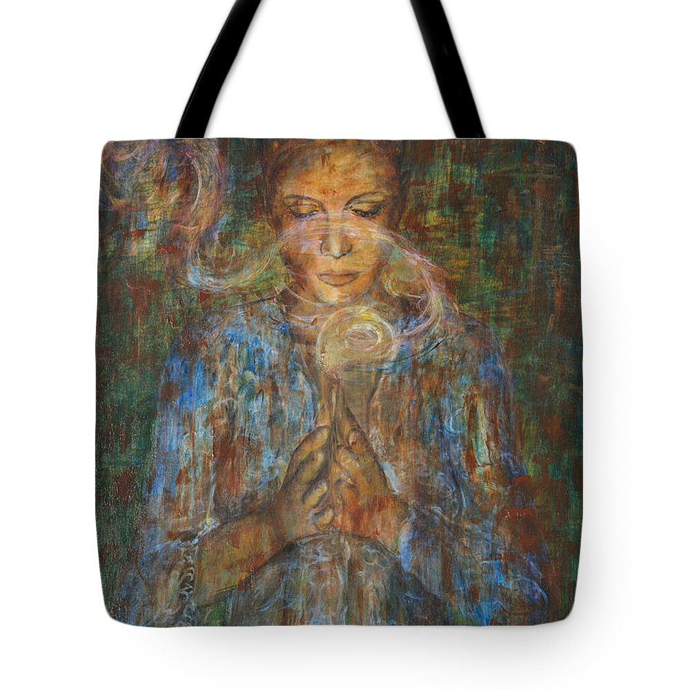 Asian Contemporary Tote Bag featuring the painting Devotee by Nik Helbig
