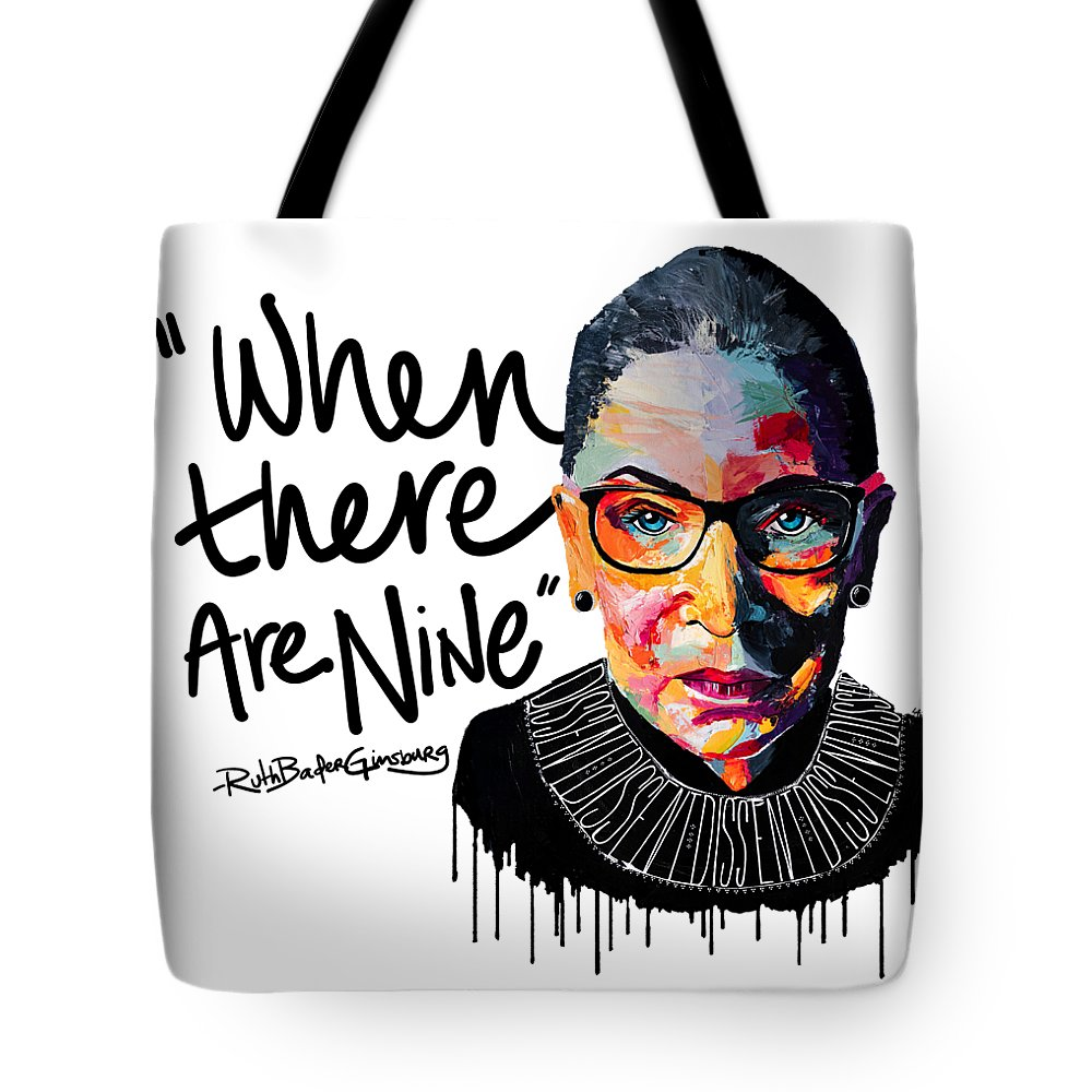 Portrait Tote Bag featuring the painting Dissent - When There Are Nine by LA Smith