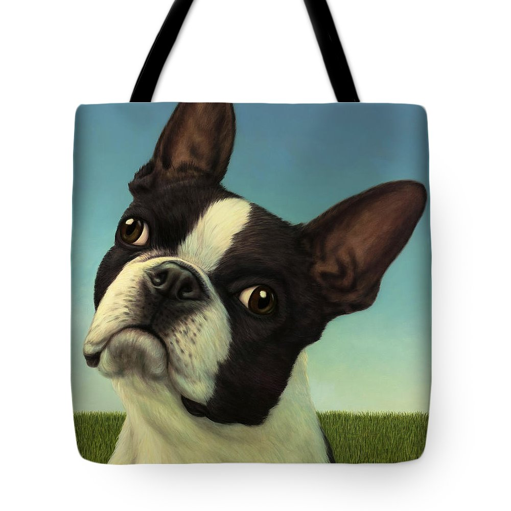 Dog Tote Bag featuring the painting Dog-Nature 4 by James W Johnson