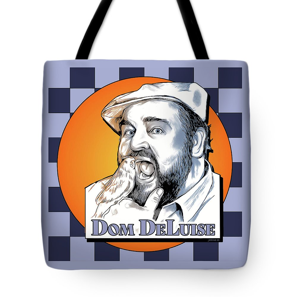 Dom Deluise Tote Bag featuring the digital art Dom and the Bird by Greg Joens