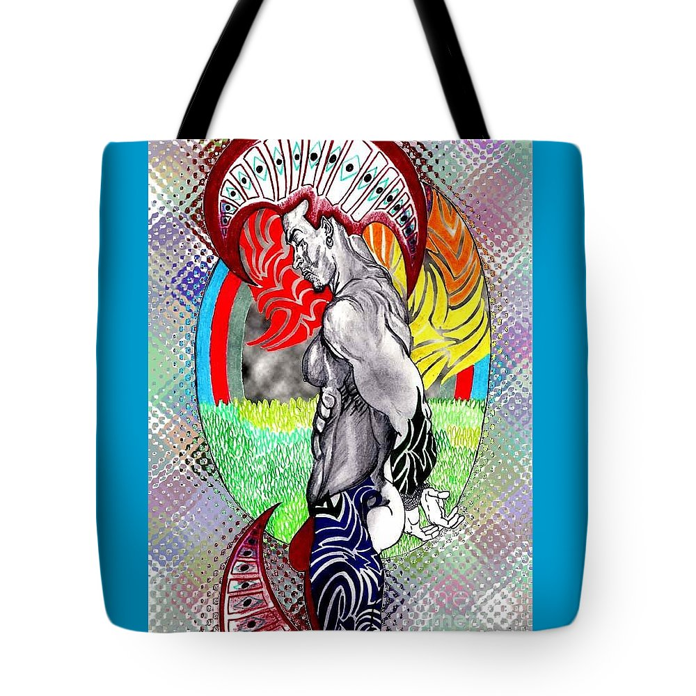 Male Tote Bag featuring the drawing Don't Take My Mind On A Trip-jan. 23, 2007 by Antonio Tonyboy Garrett