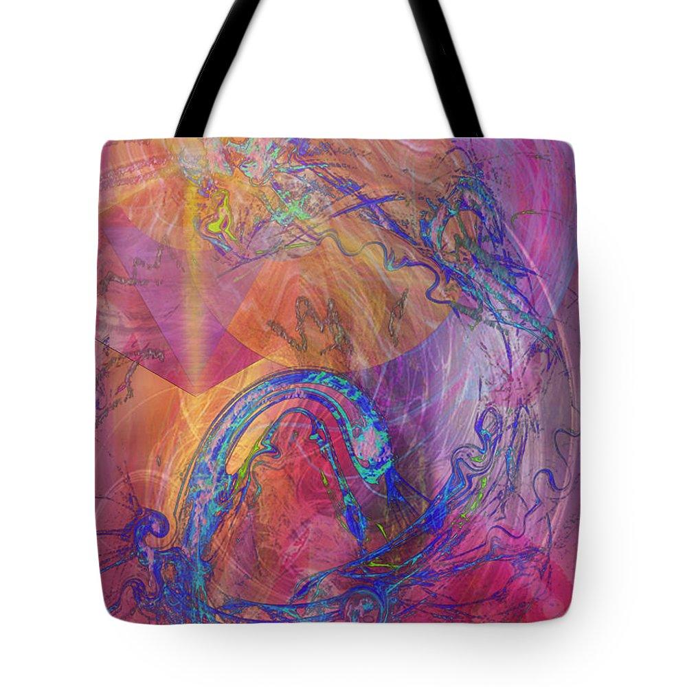 Dragon's Tale Tote Bag featuring the digital art Dragon's Tale by Studio B Prints
