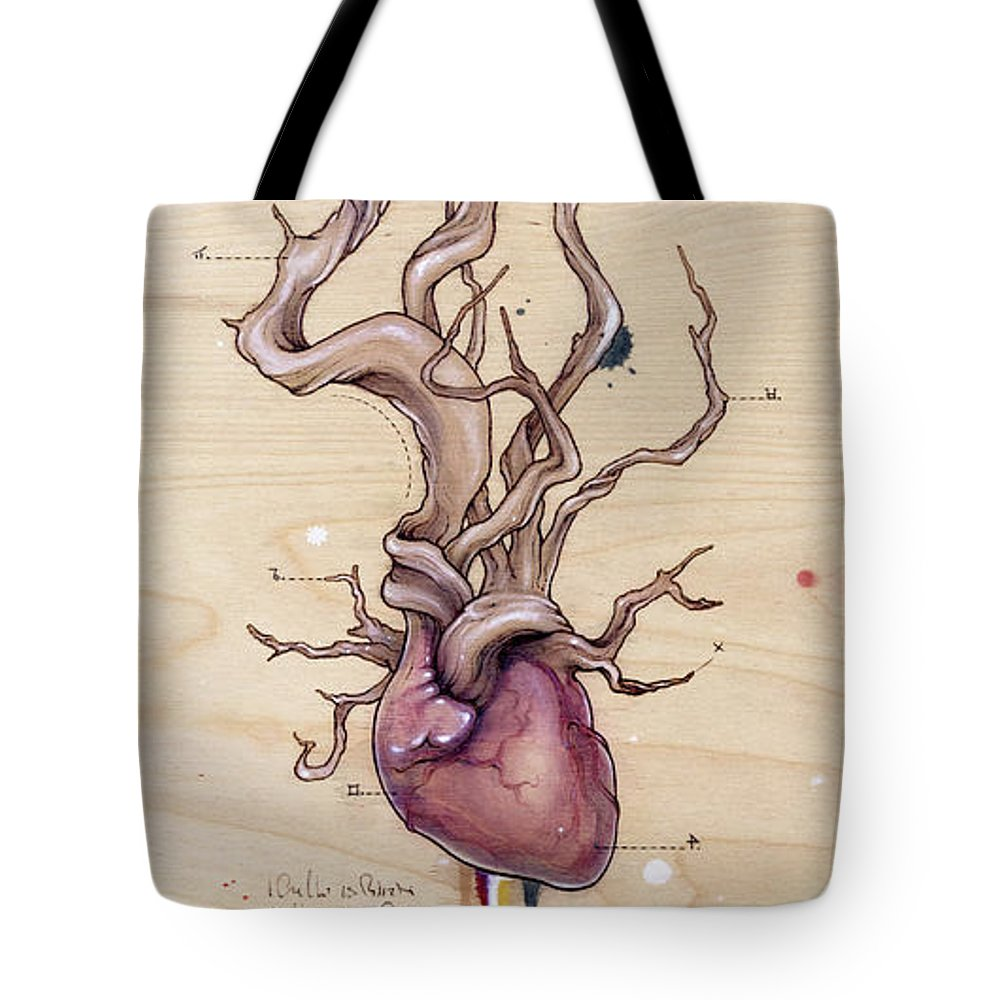 Tote Bag featuring the pyrography Driftwood Heart by Fay Helfer