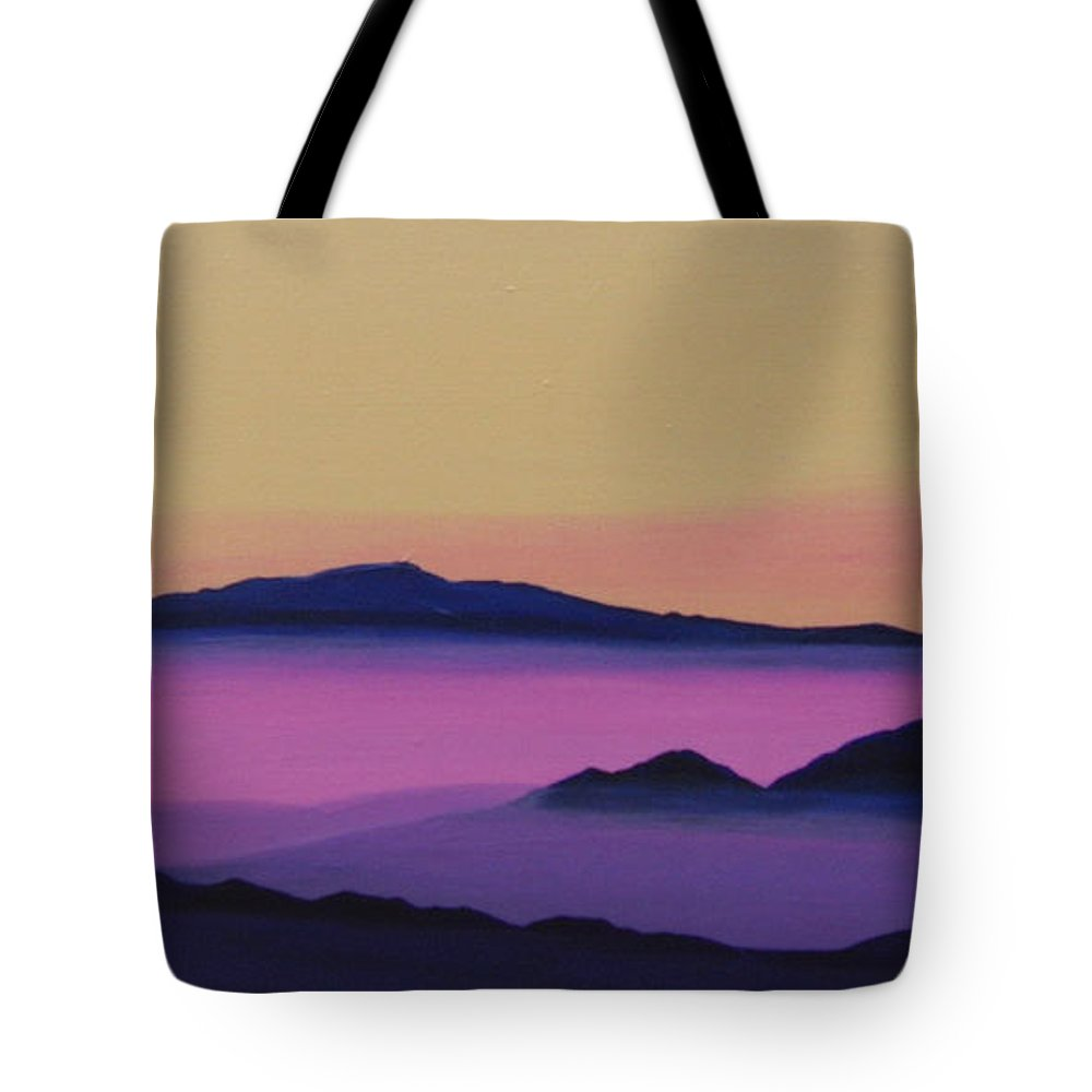 Mountains Tote Bag featuring the painting Early Morning by Hunter Jay