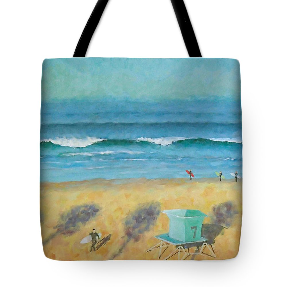 Life Guard Tower Tote Bag featuring the painting Tower Number Seven by Philip Fleischer