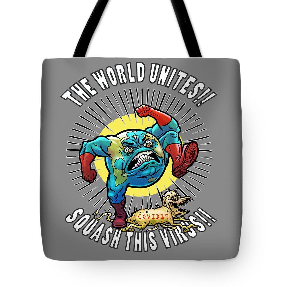 Earth Vs Virus Tote Bag featuring the digital art Earth vs Virus by Jonathan Buhl