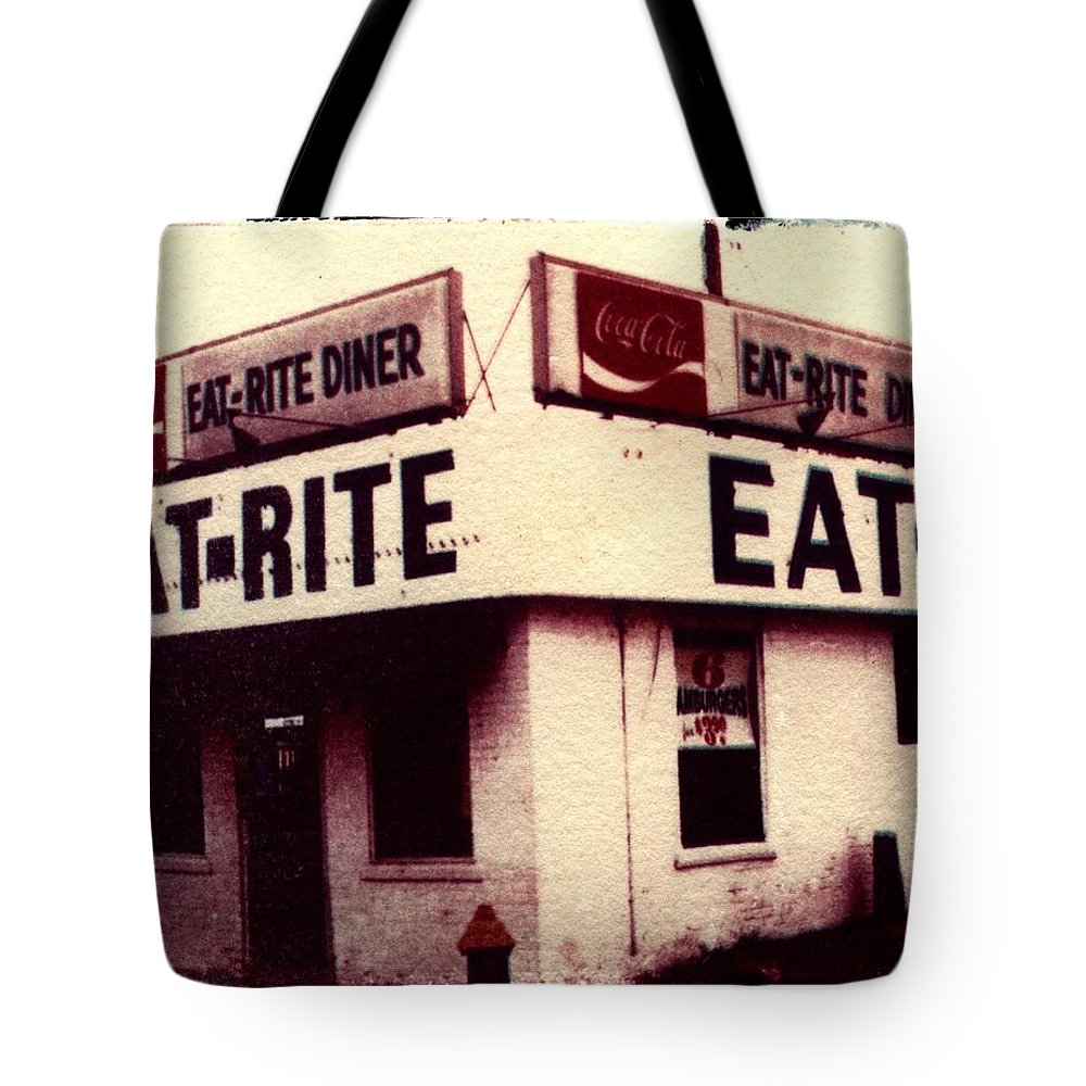 Polaroid Transfer Tote Bag featuring the photograph Eat Rite by Jane Linders