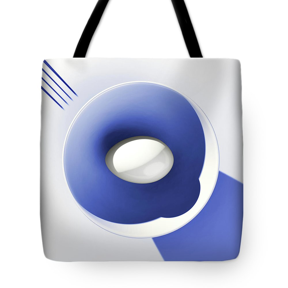 Egg Tote Bag featuring the digital art Egg and Blue Bowl after Cesare Onestini by Heike Remy