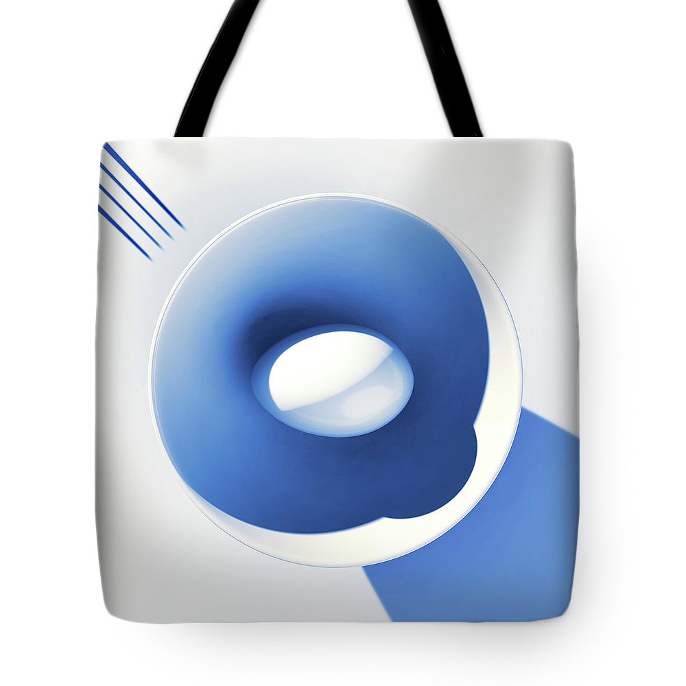 Egg Tote Bag featuring the digital art Egg and Bowl_electric blue after Cesare Onestini by Heike Remy