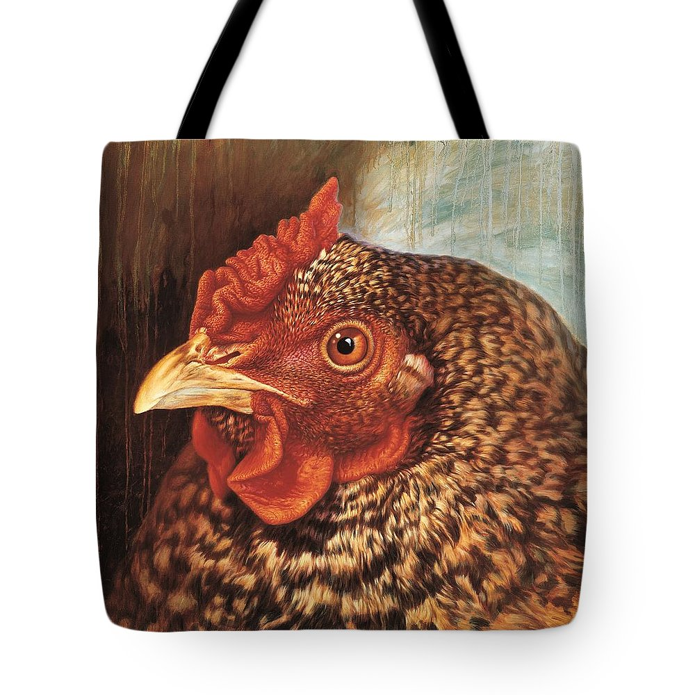 Chicken Tote Bag featuring the painting Eleanor3 by Hans Droog