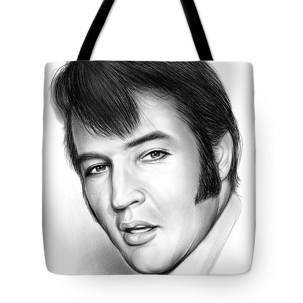 Elvis Presley Tote Bag featuring the drawing Elvis 3 by Greg Joens
