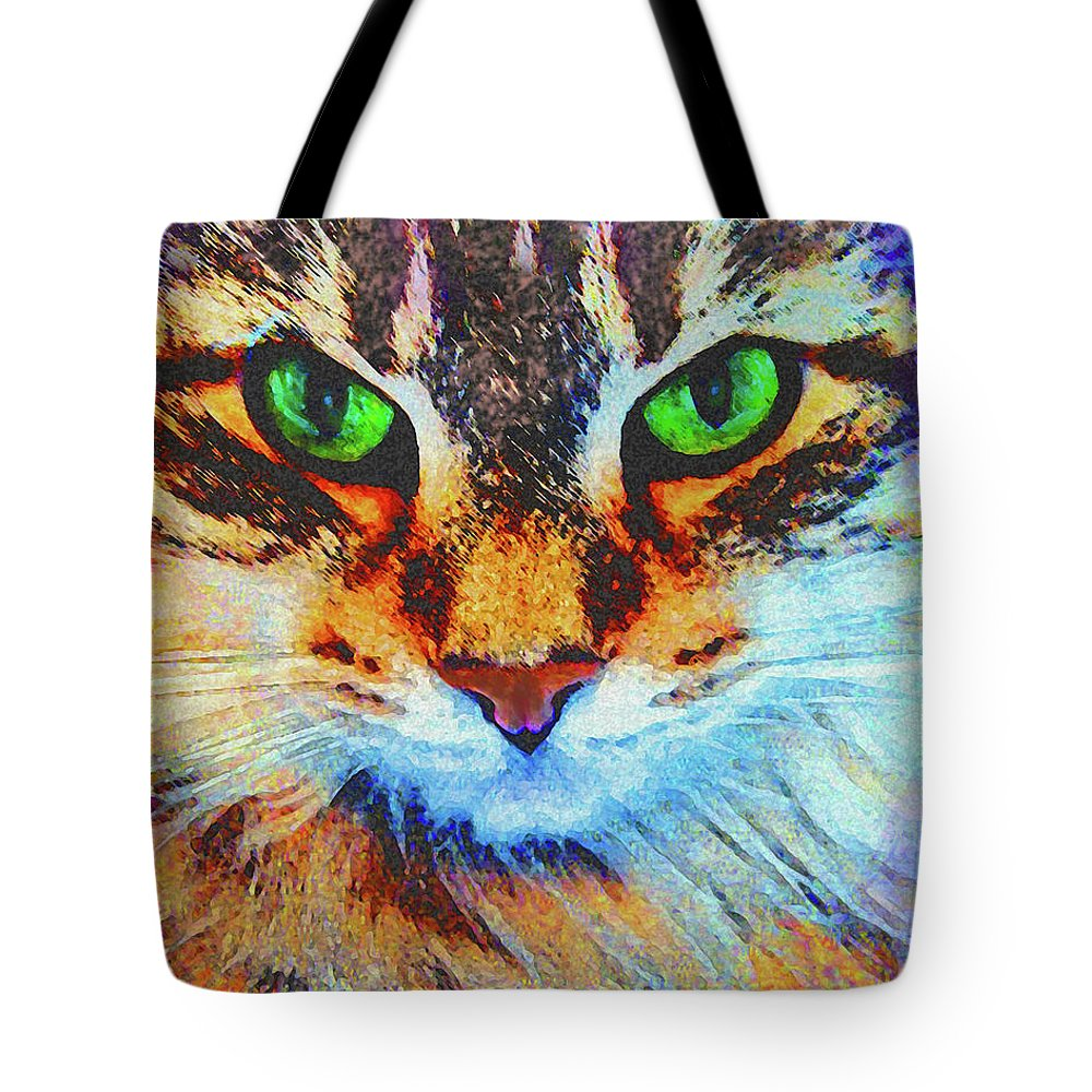 Emerald Gaze Tote Bag featuring the digital art Emerald Gaze by John Robert Beck