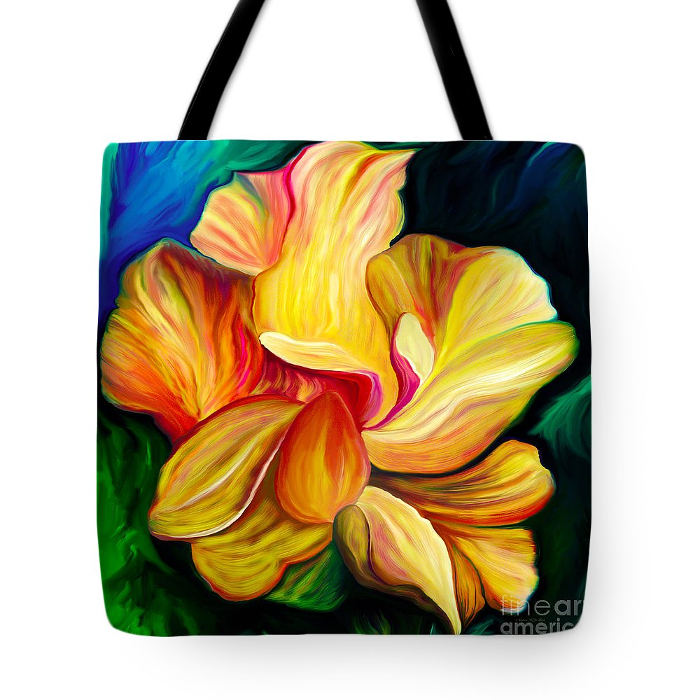 Hibiscus Painting Tote Bag featuring the painting Emergence II by Patricia Griffin Brett