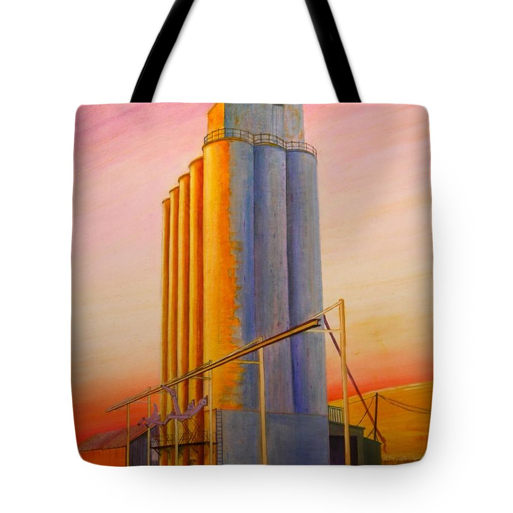 Grain Tote Bag featuring the painting Endicotte Silos by Leonard Heid