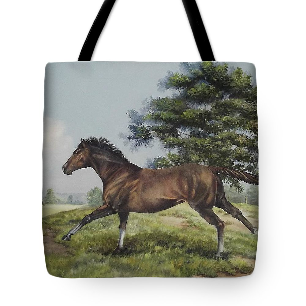 Horse In Field Tote Bag featuring the painting Energy To Burn by Wanda Dansereau