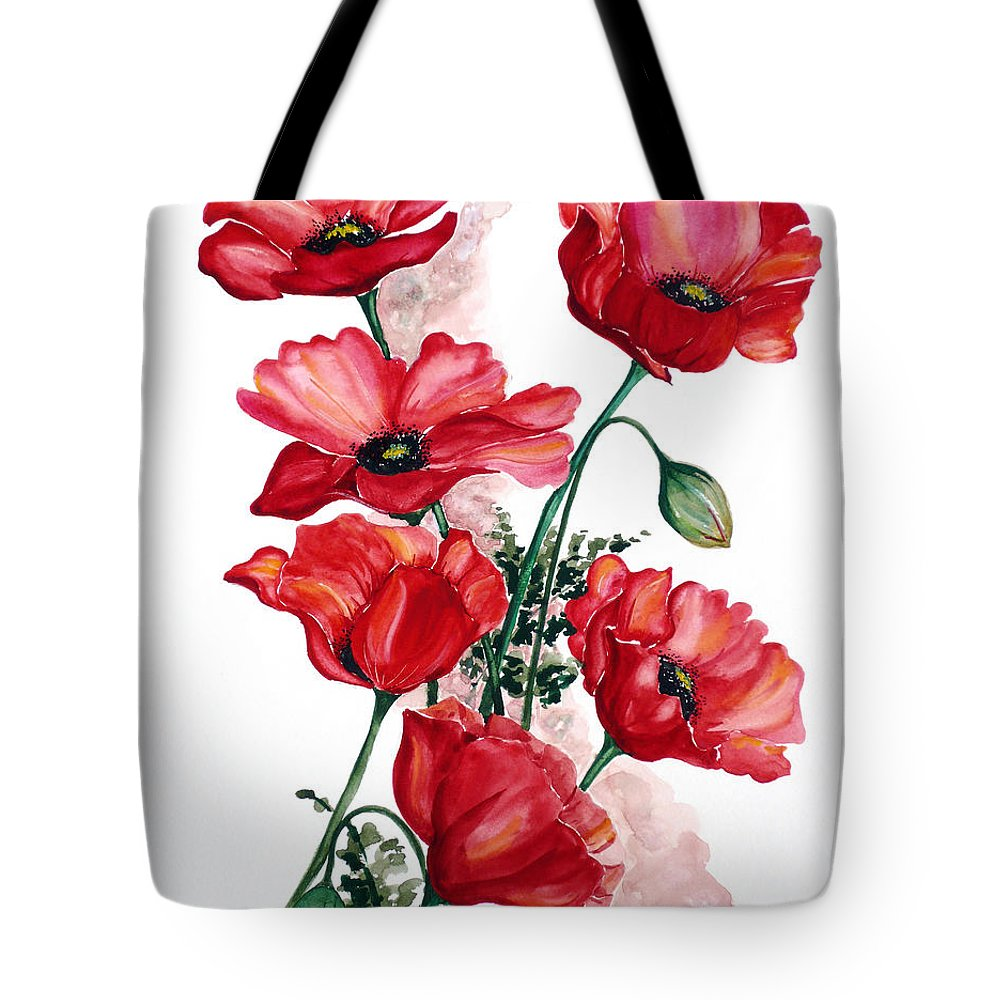 Original Watercolor Of English Field Poppies Painted On Arches Watercolor Paper Tote Bag featuring the painting English Field Poppies. by Karin Dawn Kelshall- Best