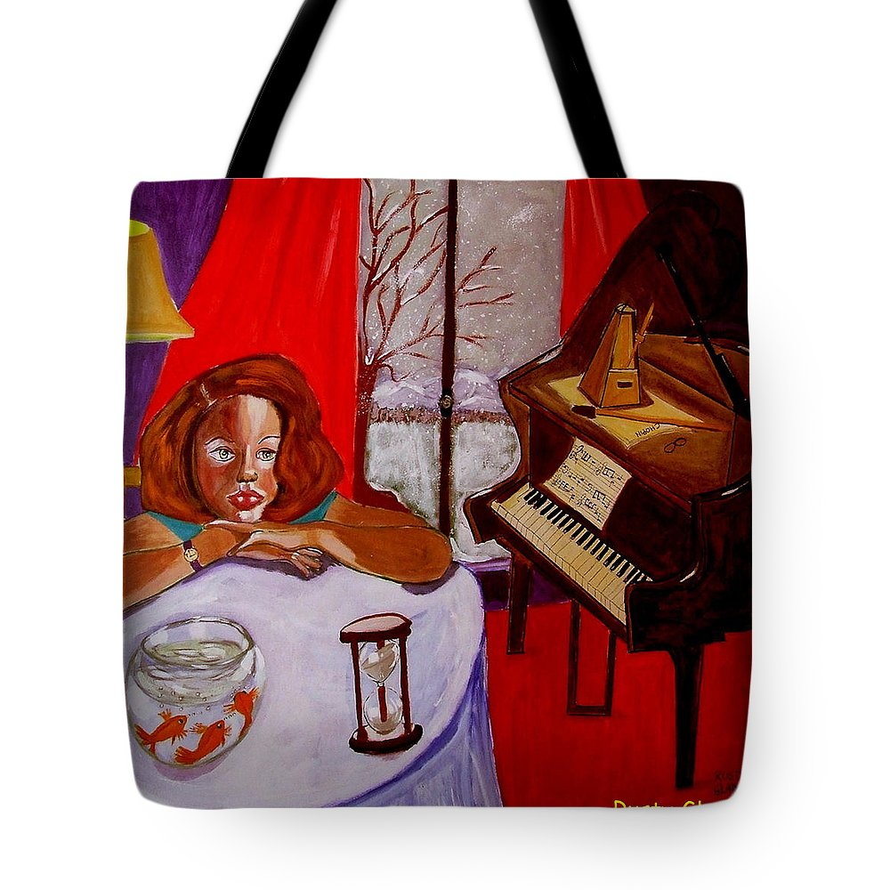 Hourglass Tote Bag featuring the painting Entropiano by Rusty Gladdish