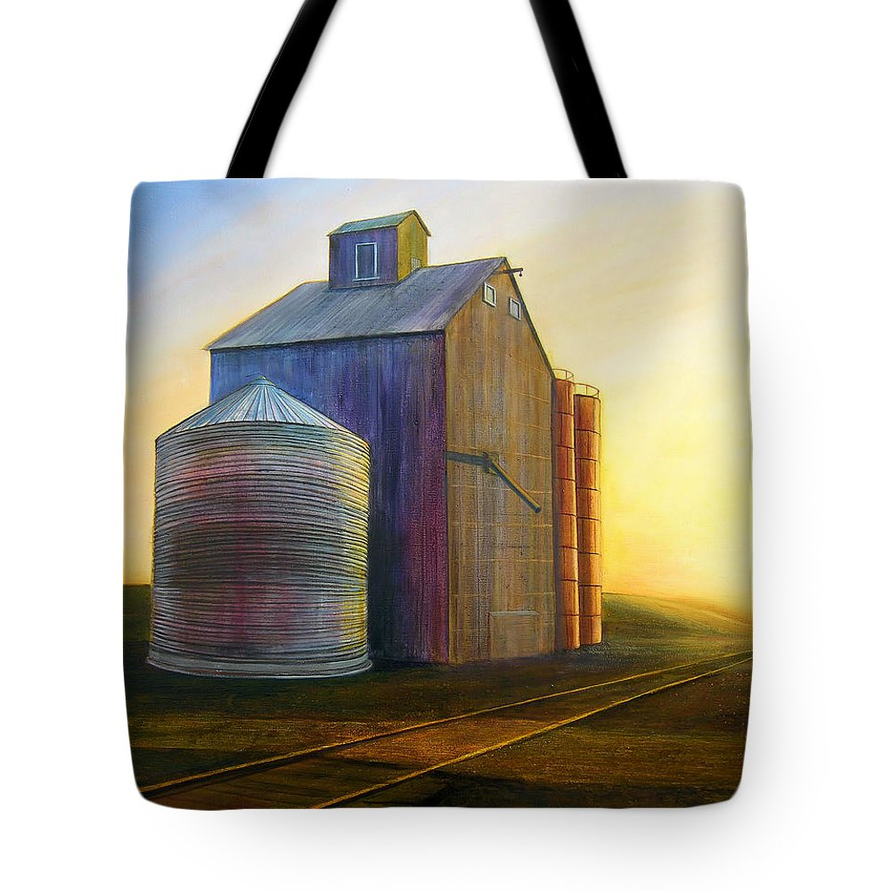 Silos Tote Bag featuring the painting Estes Road Twilight by Leonard Heid