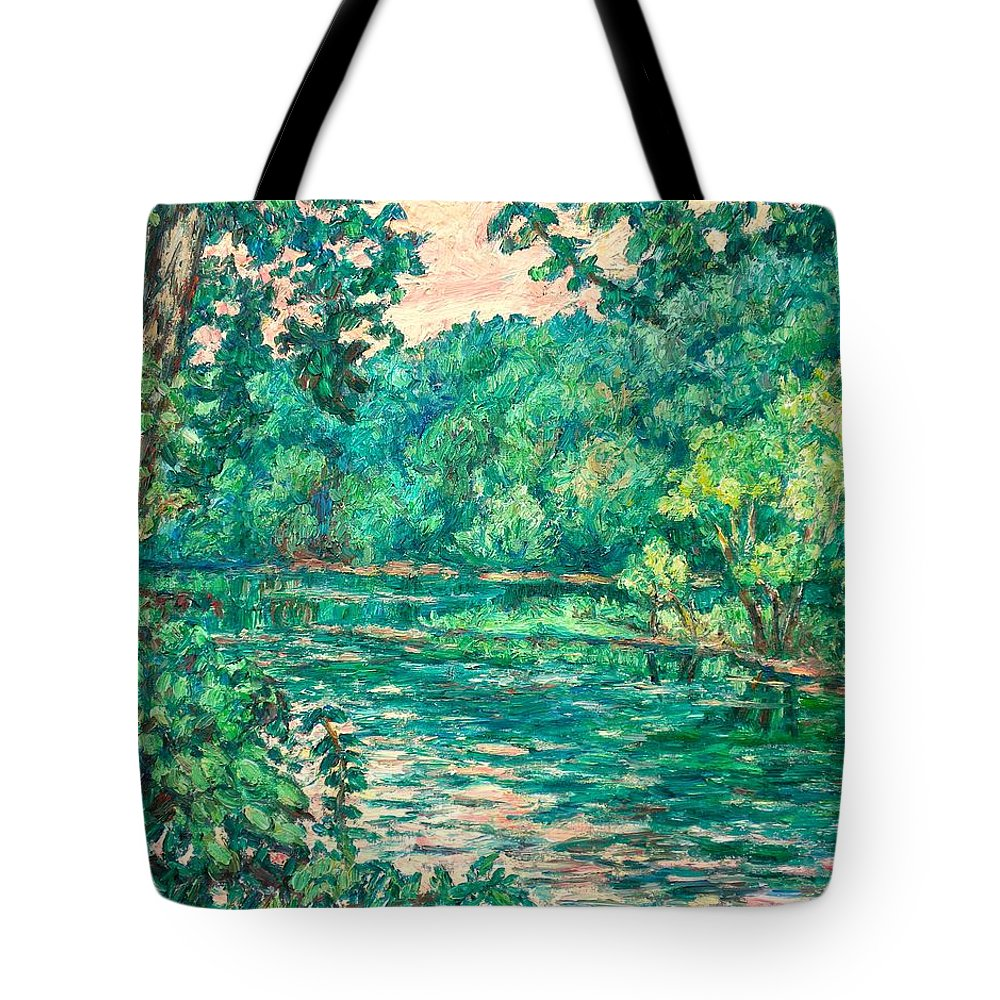 Landscape Tote Bag featuring the painting Evening River Motion by Kendall Kessler