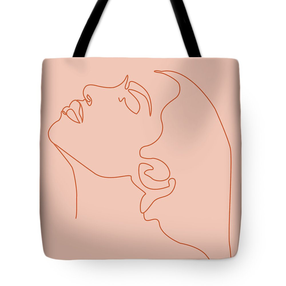 Portrait Tote Bag featuring the mixed media Face 11 - Abstract Minimal Line Art Portrait Of A Girl - Single Stroke Portrait - Terracotta, Brown by Studio Grafiikka
