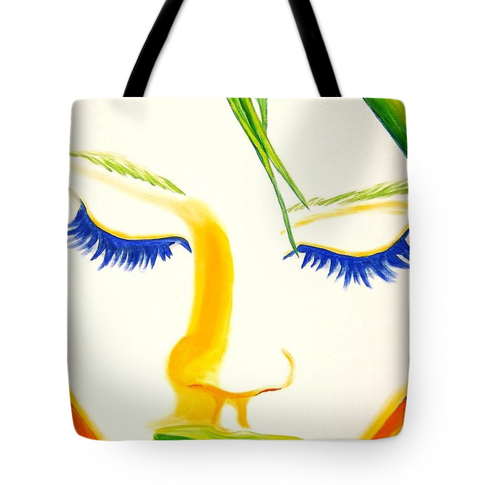 Woman Tote Bag featuring the painting Face Forward by Holly Picano