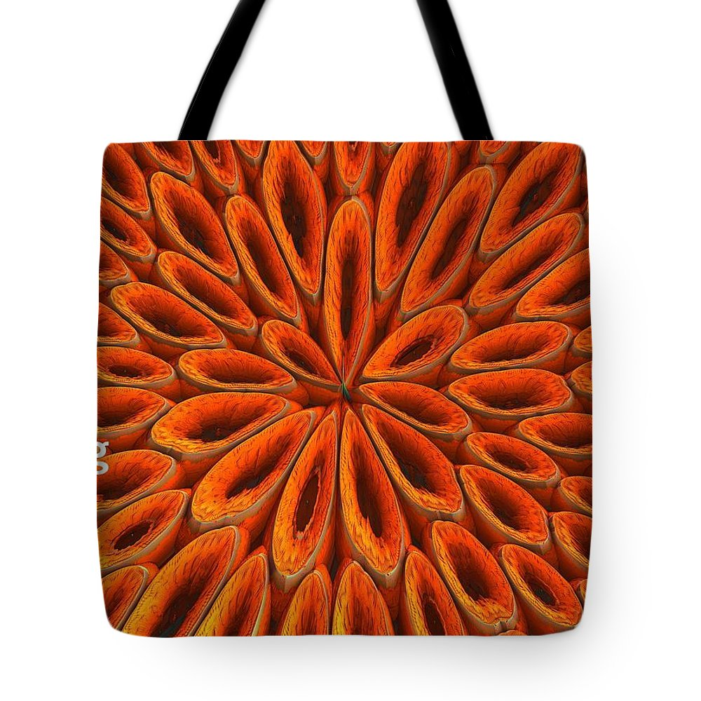 Tote Bag featuring the photograph Face Mask Orange by Getty Images