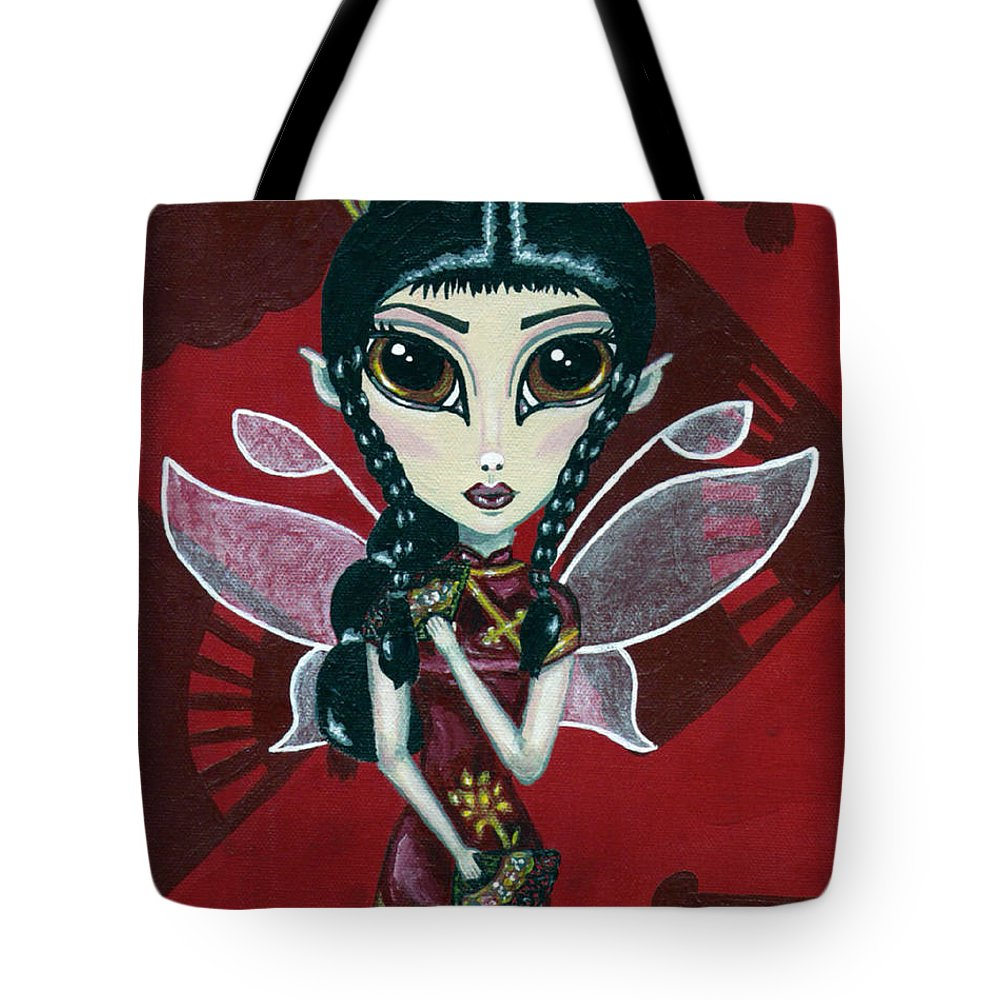 Fairy Tote Bag featuring the painting Fairy Of The Fans by Bronwen Skye