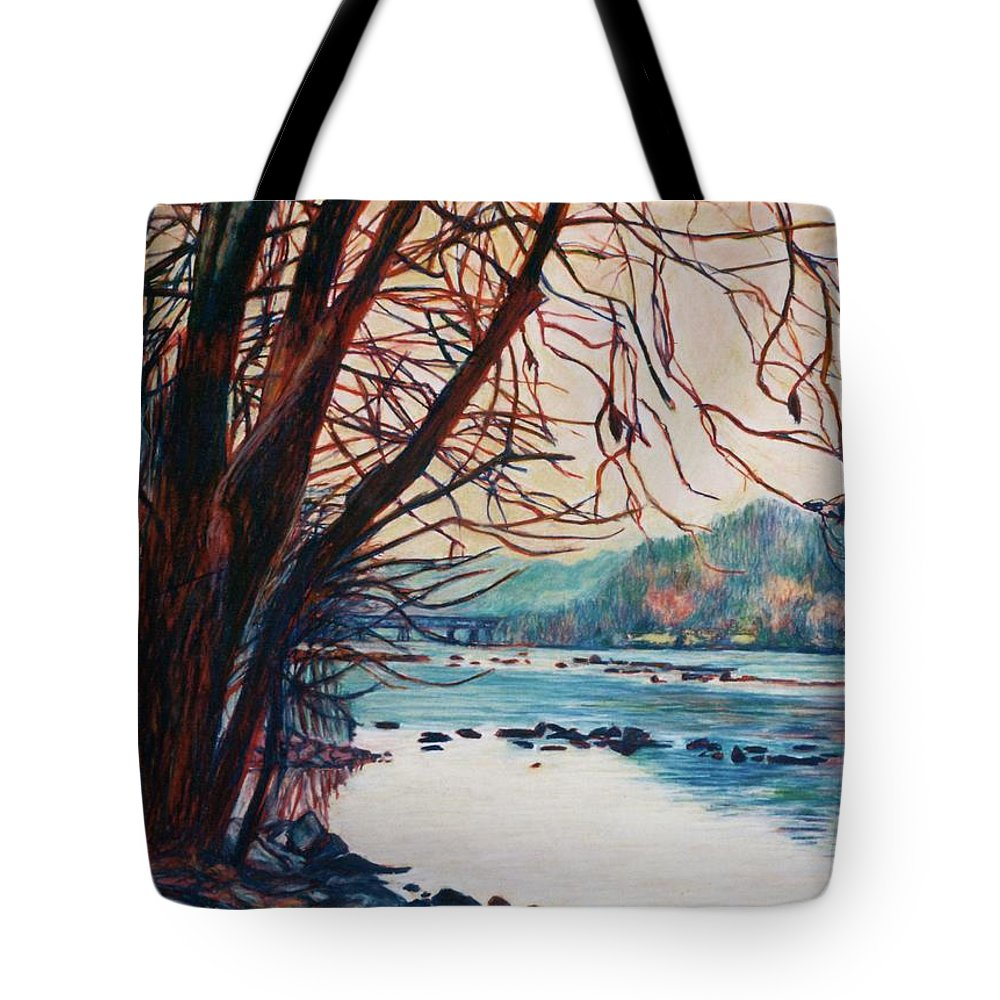 New River Tote Bag featuring the pastel Fall on the New River by Kendall Kessler
