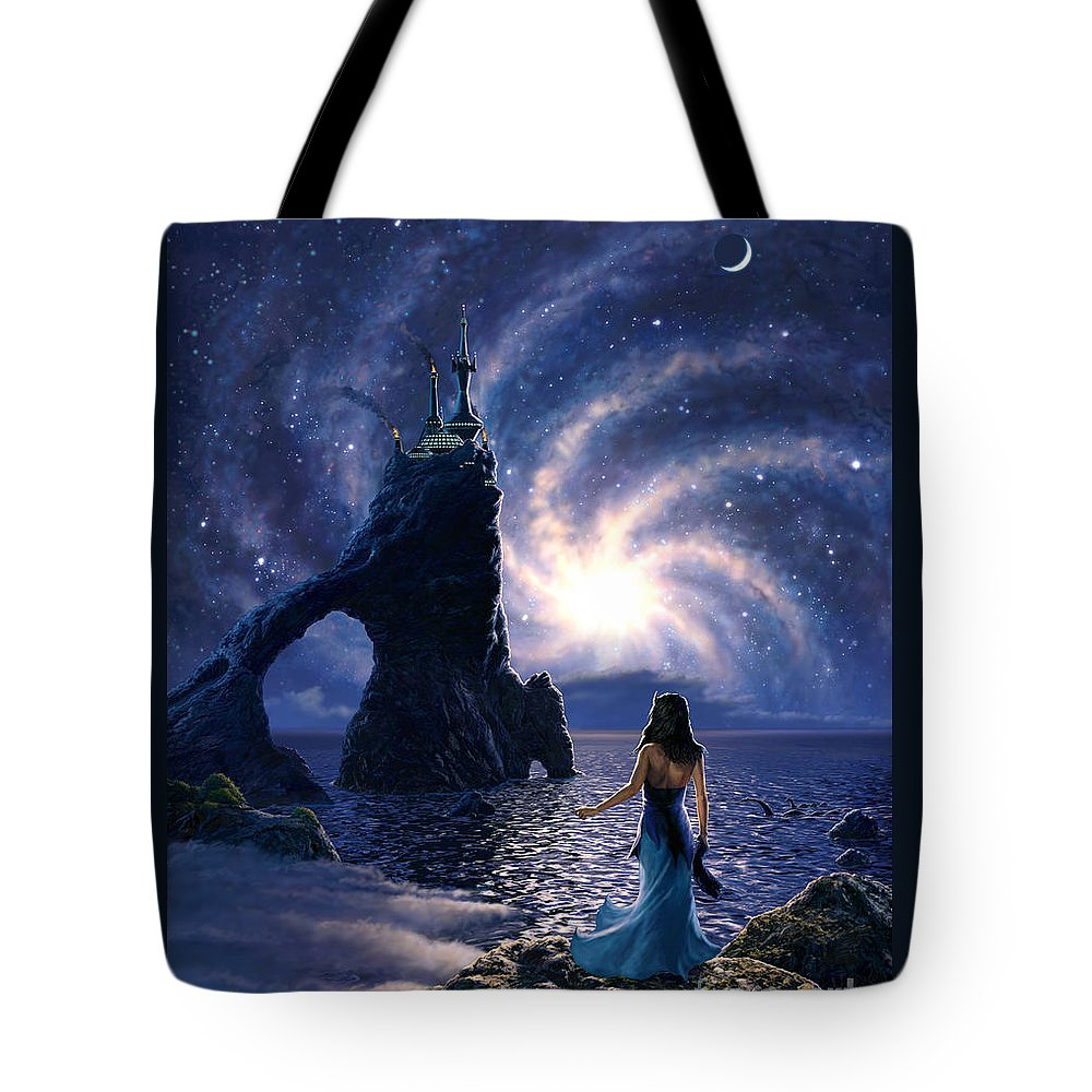Space Tote Bag featuring the painting Far Synura by Stu Shepherd