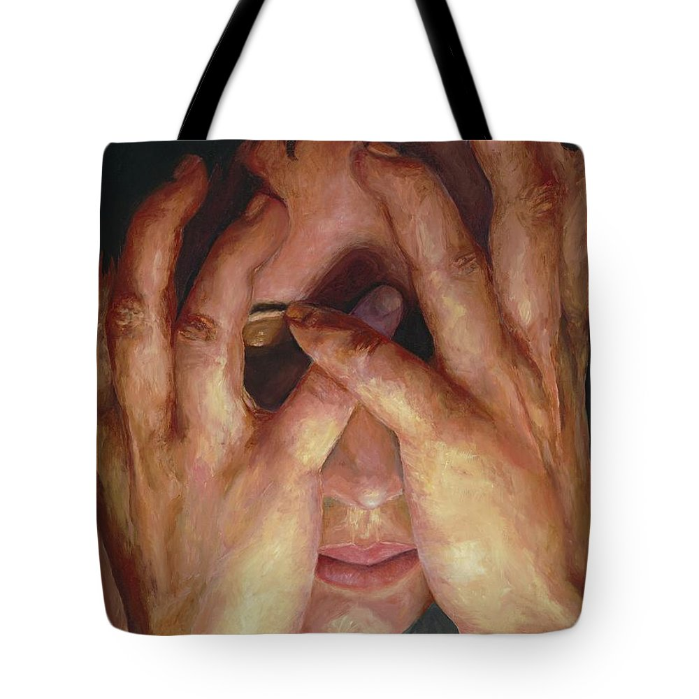 Hands Tote Bag featuring the painting Feelings by Patricia Awapara