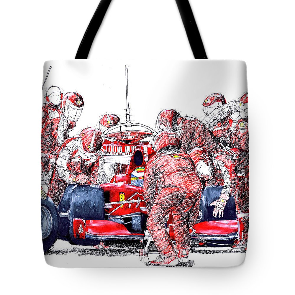 Ferrari Tote Bag featuring the drawing Ferrari a boxes, pits, Original handmade drawing by Drawspots Illustrations