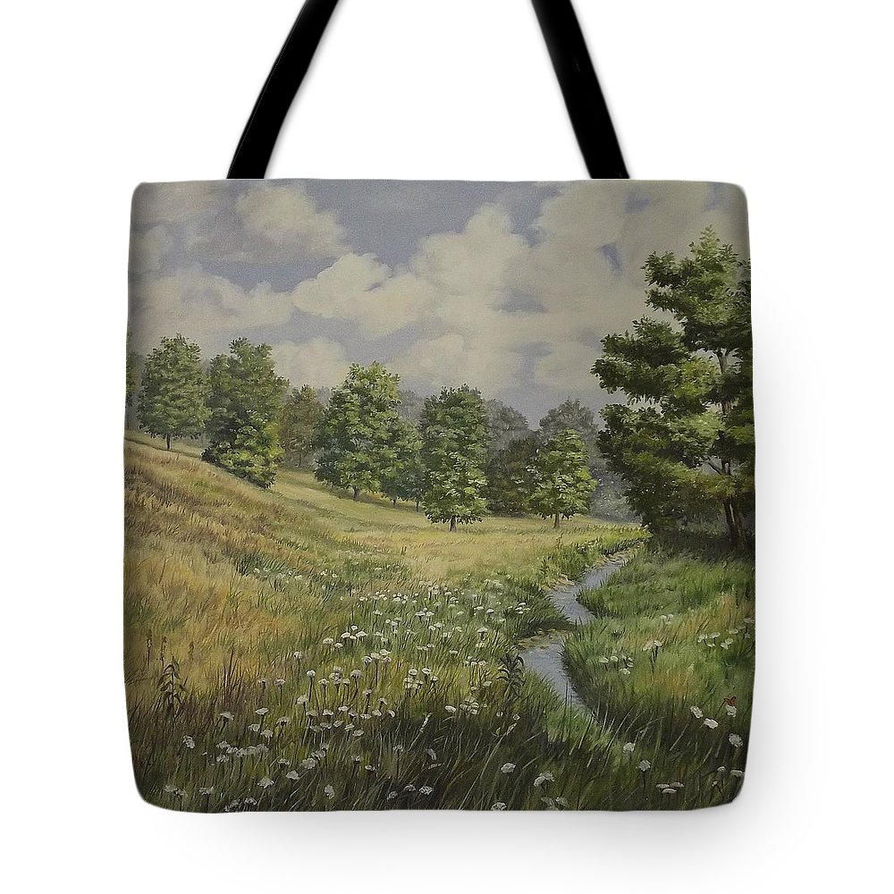 Cloudy Skies Tote Bag featuring the painting Field And Stream by Wanda Dansereau