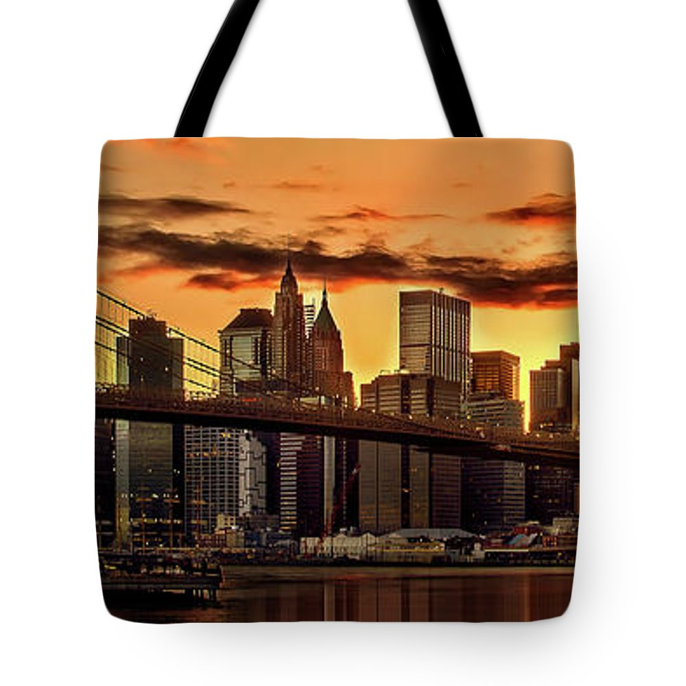 New York City Tote Bag featuring the photograph Fiery Sunset Over Manhattan by Az Jackson
